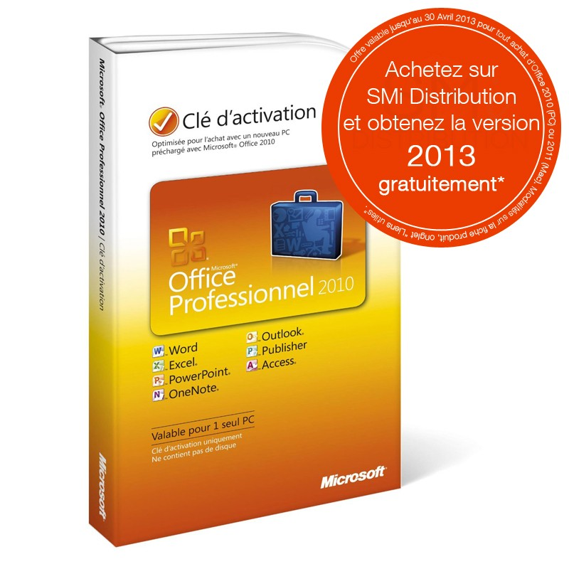 Microsoft office professionnel 2010 carte activation achat vente pas cher sur smi distribution - Office professionnel 2010 ...